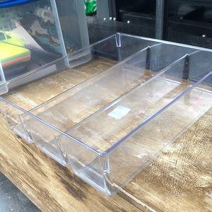 3 compartment draw organizer/ clear